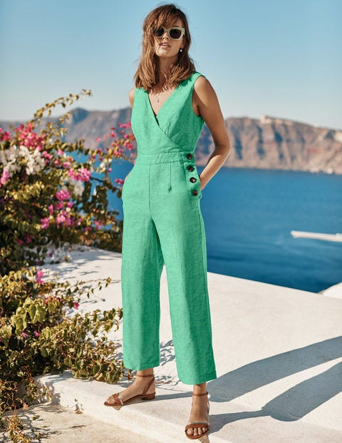 Dorothea Wrap Jumpsuit - Rich Emerald Chambray