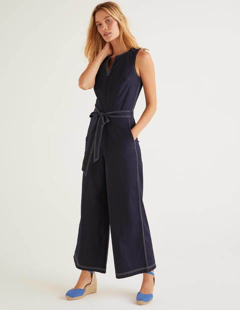 Fleur Notch Neck Jumpsuit - Navy