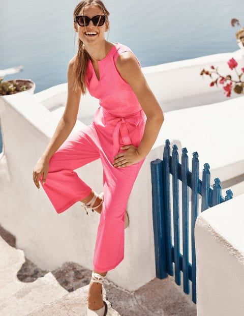 Fleur Notch Neck Jumpsuit - Bright Camelia