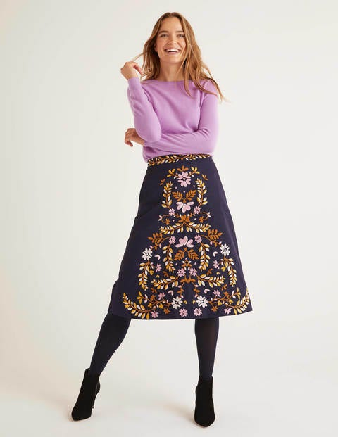 Eyre Embroidered Skirt - Navy Floral