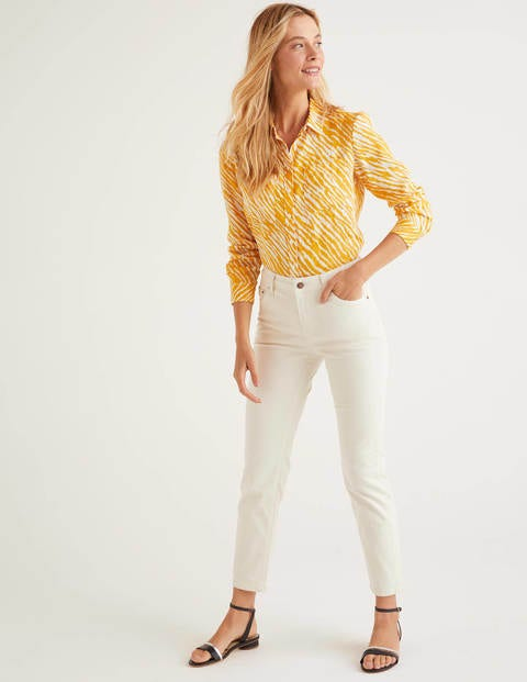 Yellow Zebra Print Linen Shirt - Tuscan Sun, Safari
