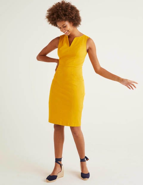 Yellow Helena Cotton Chino Dress