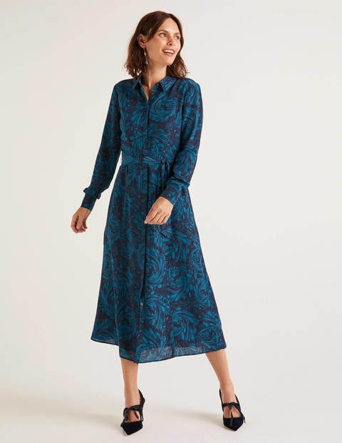 Jemima Silk Shirt Dress Navy, Marbled Dreams