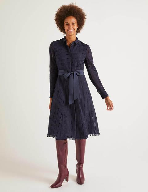 Macie Hemdblusenkleid aus Spitze Navy Damen Boden, Navy
