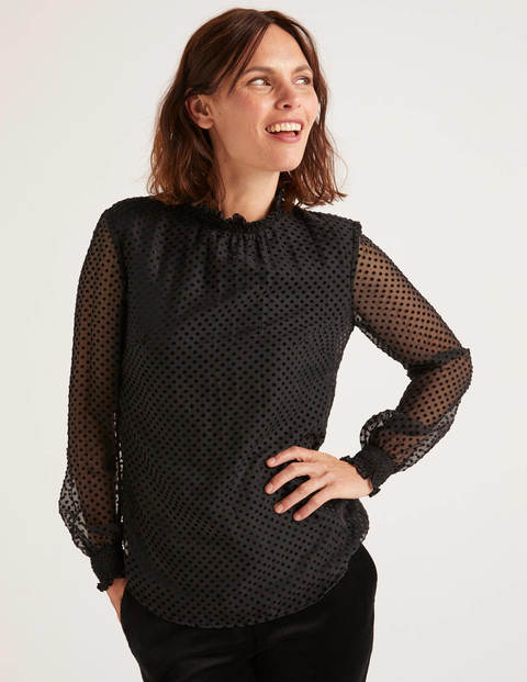 Emilie Blouse - Black, Regular Devore Dot