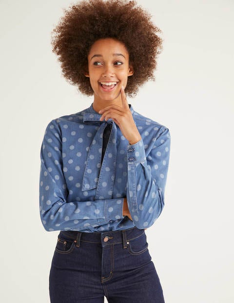 Keira Bow Neck Shirt - Chambray, Brand Dot