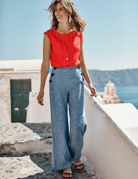 Julianne Linen Shell Top - Post Box Red