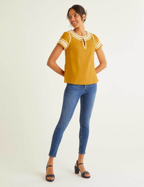 Laura Linen Embroidered Top - Tuscan Sun