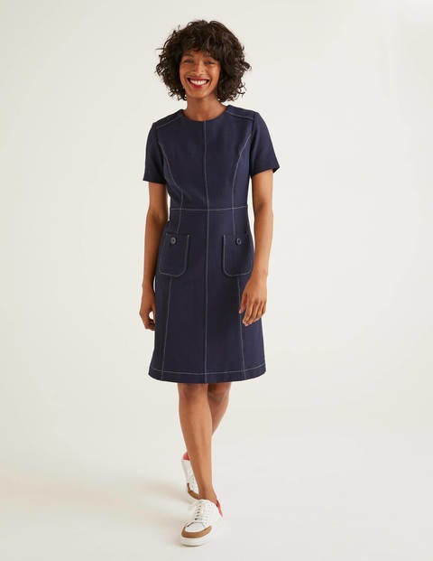 Clara Textured Dress - Navy