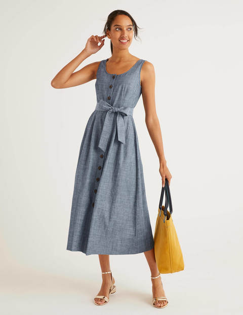 Joanna Button Through Dress - Chambray