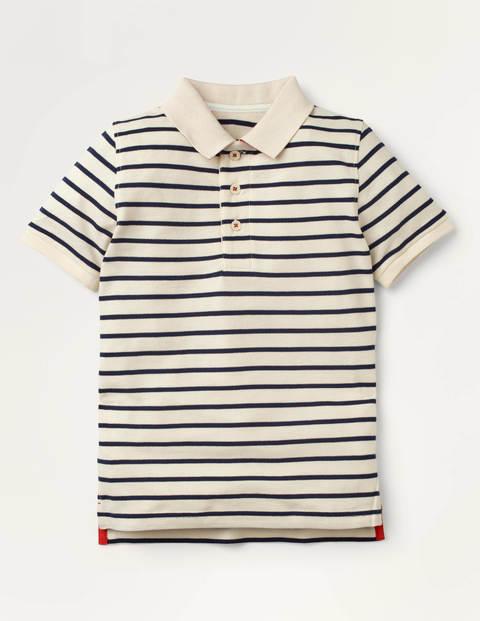 Piqué-Poloshirt - Naturweiß/Schuluniform-Navy