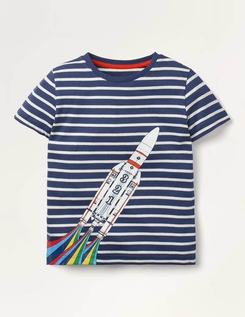 T-Shirt mit Retro-Fahrzeugmotiv - Schuluniform-Navy/Naturweiß