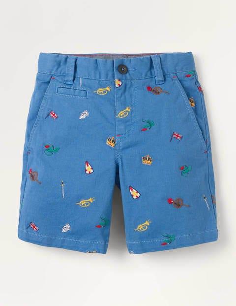 Chino Shorts - Elizabethan Blue Heraldry