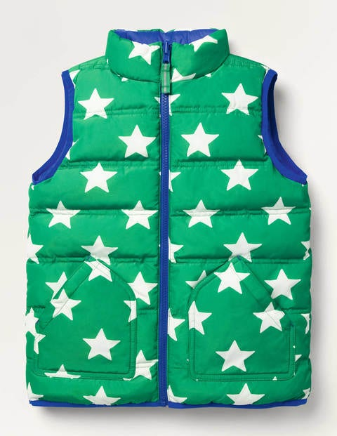 Cosy Reversible Gilet - Highland Green/Ecru Star