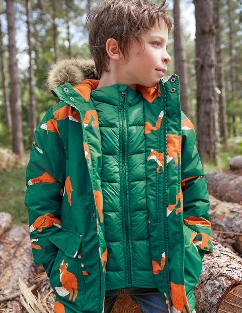 Cosy Waterproof Parka - Woodland Green Foxes