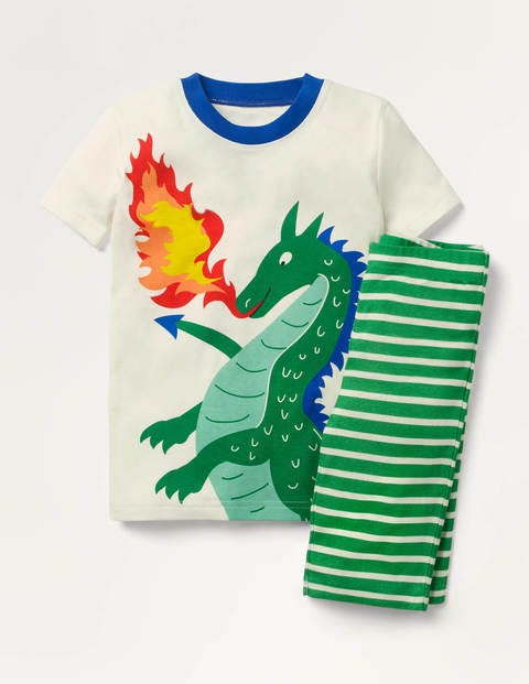 Cosy Short John Pajamas - Ivory/Highland Green Dragon