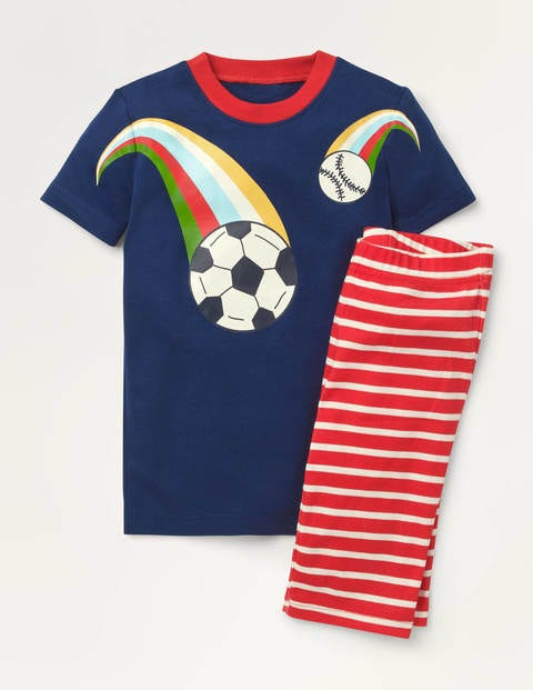 Cosy Graphic Short Pyjamas - College Navy/Red Football