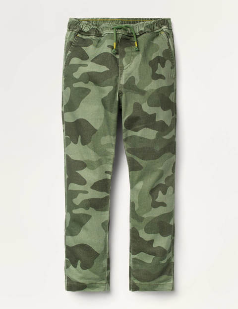 Relaxed Slim Pull-on Pants - Green Camouflage