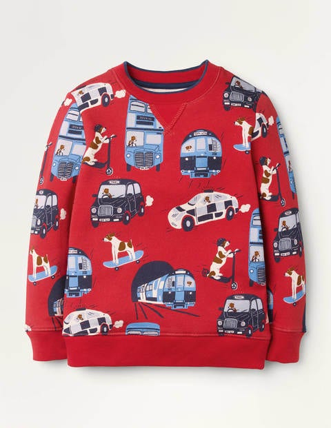 Cosy Printed Sweatshirt - Rockabilly Red Sprout Vehicles