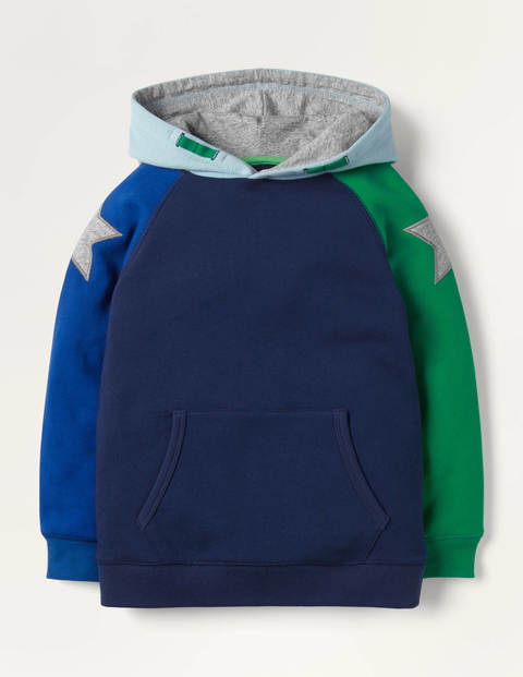 Cosy Colourblock Star Hoodie - College Navy