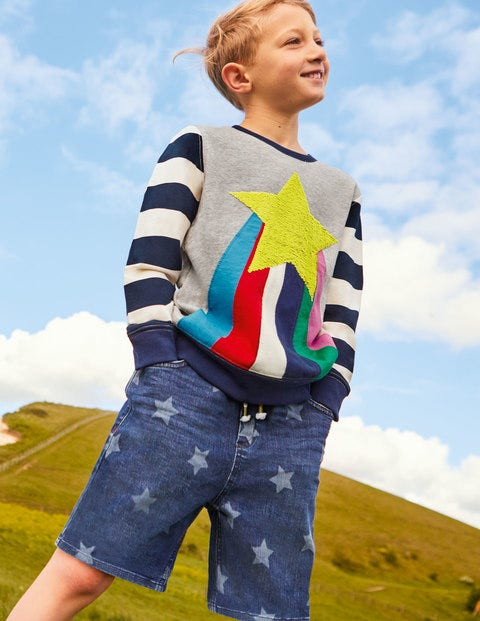 Cosy Sequin Rainbow Sweatshirt - Grey Marl Rainbow Star