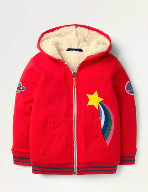 Shaggy-lined Appliqué Hoodie - Rockabilly Red Weather