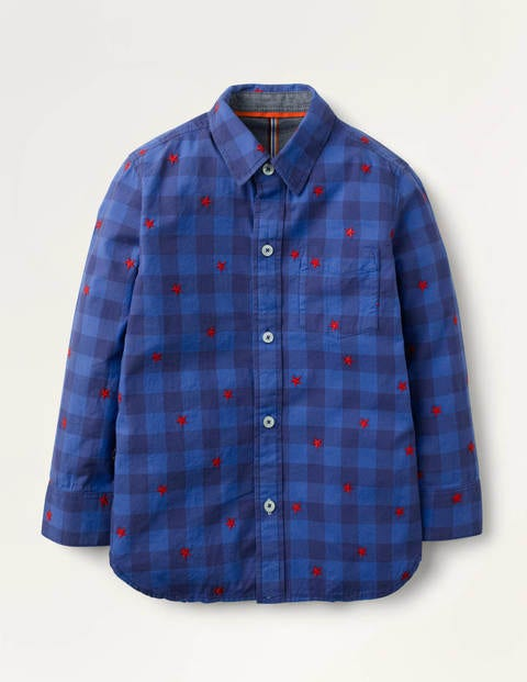 Casual Twill Shirt - Navy Gingham Star