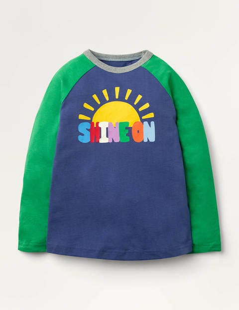 Rainbow Raglan T-shirt - Starboard Blue Shine On
