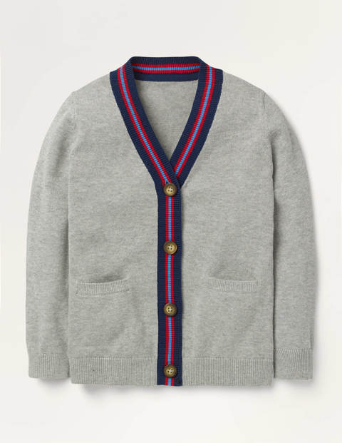 Elbow Patch Cardigan - Grey Marl