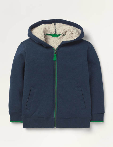 Borg-lined Zip-up Hoodie - Blue Marl