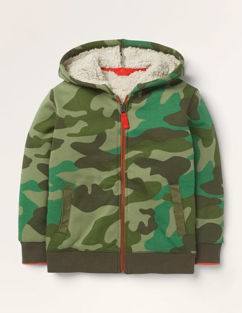 Borg-lined Zip-up Hoodie - Camouflage