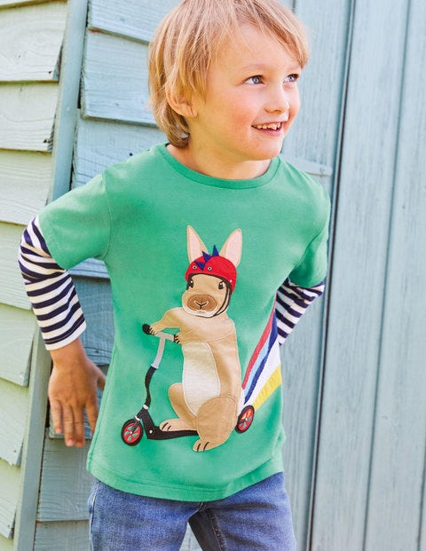 Sporty Animal Appliqué T-shirt - Asparagus Green Rabbit