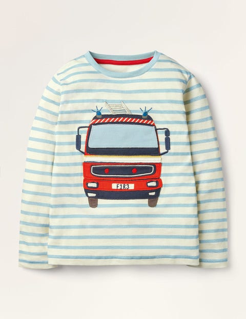 Lift-the-flap Vehicle T-shirt - Ivory/Frosted Blue Fire Engine