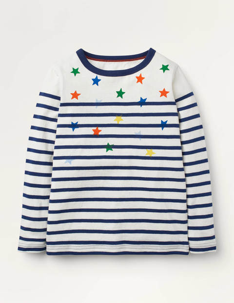 Fun Breton T-Shirt - College Navy Stars