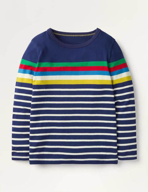 Lustiges Bretonshirt - Segelblau, Regenbogen