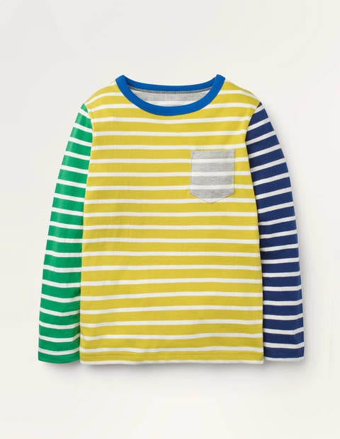 Lustiges Bretonshirt - Mimosengelb/Naturweiß