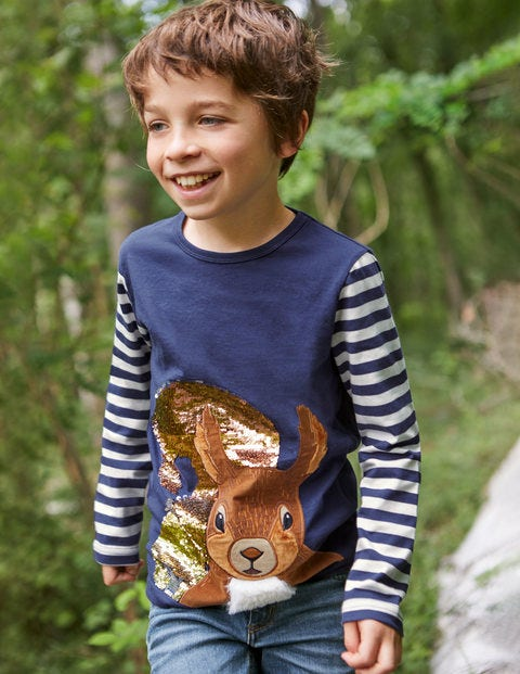 Woodland Sequin T-shirt - Starboard Blue Squirrel