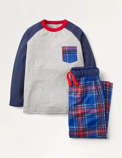 Gebürsteter Raglan-Pyjama - Schuluniform-Navy/Rot
