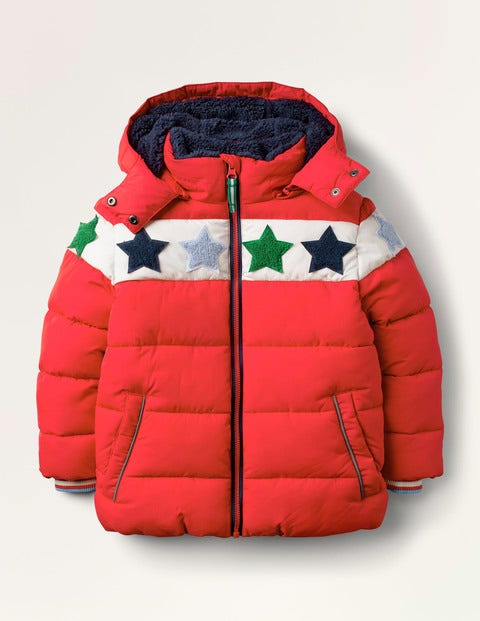Cosy Star Bouclé Padded Jacket - Rockabilly Red Bouclé