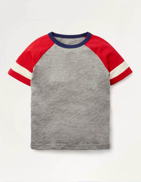 Stripe Raglan T-shirt - Grey Marl/Rockabilly Red