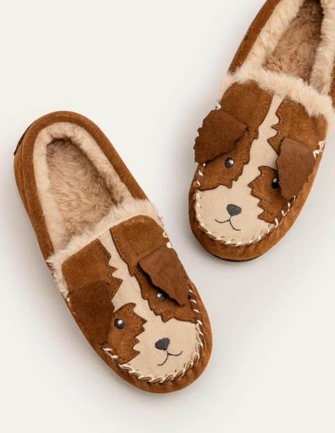 Suede Slippers - Tan Brown