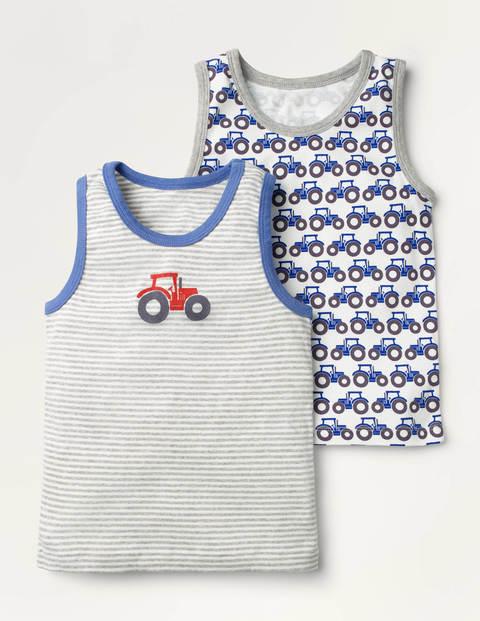 Unterhemden im 2er-Pack - Elisabethanisches Blau, Traktormuster