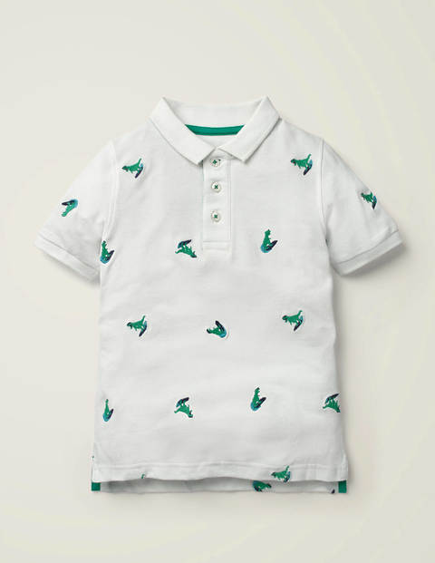 Piqué Polo Shirt - White Surfing Dinos