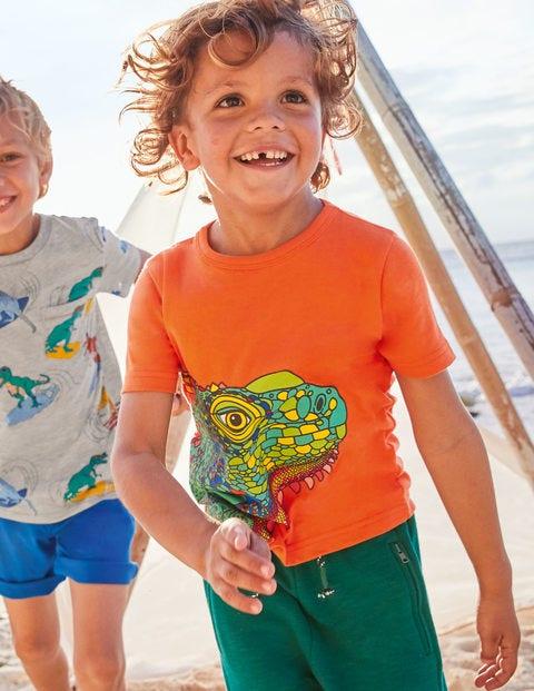 Bright Animal Textured T-shirt - Mandarin Orange Iguana