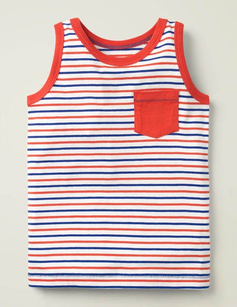 Stripy Vest - Mallow Red/Bright Blue