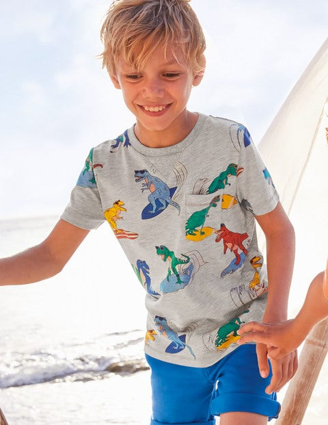 Printed T-shirt - Grey Marl Surfing Dinos