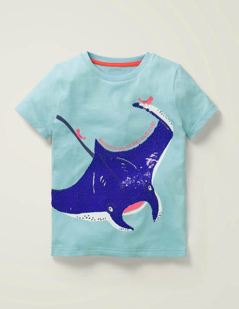 Sequin Sea Creatures T-shirt - Light Celeste Blue Manta Ray