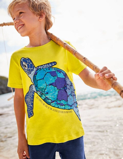Sequin Sea Creatures T-shirt - Lemon Zest Yellow Turtle