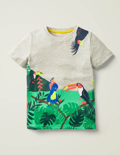 Tropical Scene T-shirt - Silver Marl Bird Scene