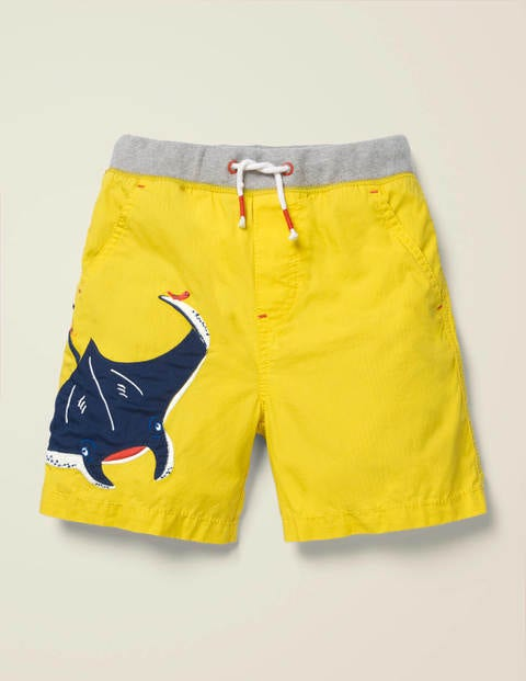 Fun Holiday Shorts - Lemon Zest Yellow Manta Ray